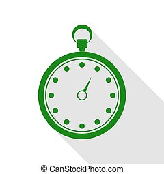 Stopwatch sign illustration. Green icon with flat style shadow path.