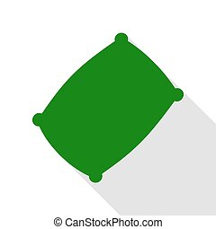 Pillow sign illustration. Green icon with flat style shadow...