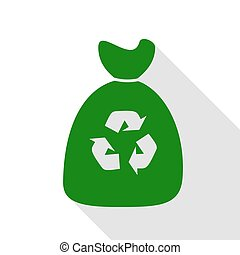 Trash bag icon. Green icon with flat style shadow path.