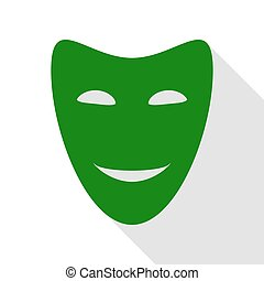 Comedy theatrical masks. Green icon with flat style shadow...