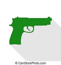 plano, estilo, Ilustración, arma de fuego, señal, verde,...