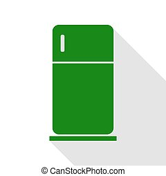 Refrigerator sign illustration. Green icon with flat style...