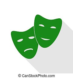 Theater icon with happy and sad masks. Green icon with flat...