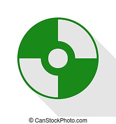 Vector CD or DVD sign. Green icon with flat style shadow...