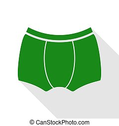 Man`s underwear sign. Green icon with flat style shadow path.