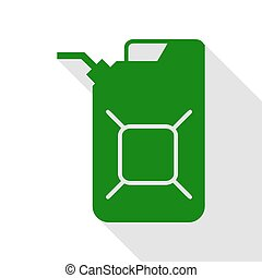 Jerrycan oil sign. Jerry can oil sign. Green icon with flat...