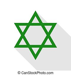 Shield Magen David Star. Symbol of Israel. Green icon with...