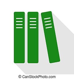 Row of binders, office folders icon. Green icon with flat...