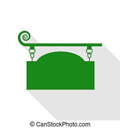 Wrought iron sign for old-fashioned design. Green icon with...