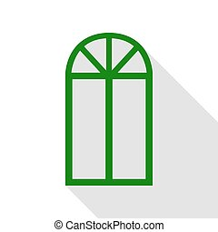 Window simple sign. Green icon with flat style shadow path.