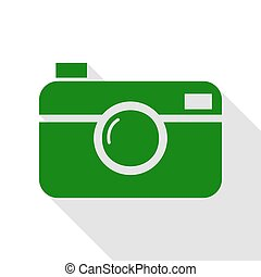 Digital photo camera sign. Green icon with flat style shadow...