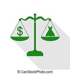 Dress and dollar symbol on scales. Green icon with flat style shadow path.