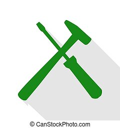 Tools sign illustration. Green icon with flat style shadow...
