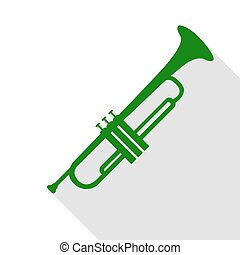 Musical instrument Trumpet sign. Green icon with flat style...