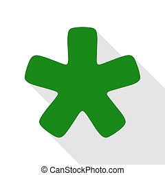 Asterisk star sign. Green icon with flat style shadow path.