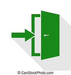 Door Exit sign. Green icon with flat style shadow path.
