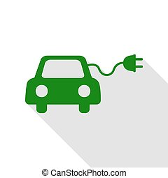 Eco electric car sign. Green icon with flat style shadow...