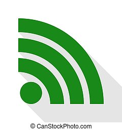 RSS sign illustration. Green icon with flat style shadow path.