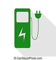 Electric car charging station sign. Green icon with flat style shadow path.