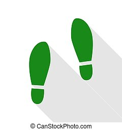 Imprint soles shoes sign. Green icon with flat style shadow...