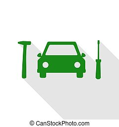 Car tire repair service sign. Green icon with flat style shadow path.