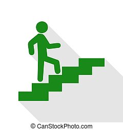 Man on Stairs going up. Green icon with flat style shadow path.