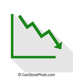Arrow pointing downwards showing crisis. Green icon with flat style shadow path.
