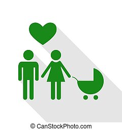 Family symbol with pram and heart. Husband and wife are kept each other`s hands. Love. Green icon with flat style shadow path.