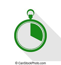 The 20 seconds, minutes stopwatch sign. Green icon with flat style shadow path.