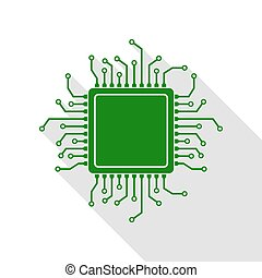 CPU Microprocessor illustration. Green icon with flat style...