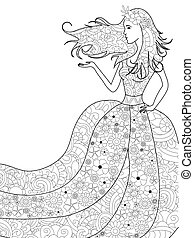 Spring woman coloring vector for adults - Vector...