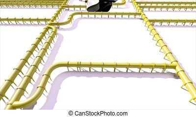 Carbon footprint oil yellow pipeline pipe line foot print...