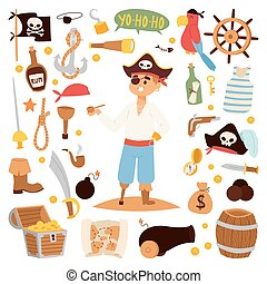 Pirate character design with vector icons.