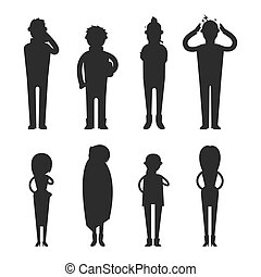 Illness flu people feeling cold silhouette vector...