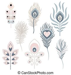 Peacock feathers vector illustration clipart. Pale pink and...