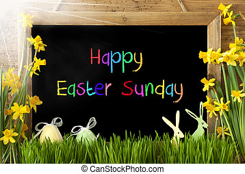Sunny Narcissus, Egg, Bunny, Colorful Text Happy Easter...