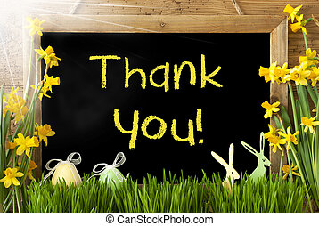 Sunny Narcissus, Easter Egg, Bunny, Text Thank You -...