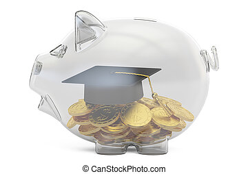 savings money for education concept, 3D rendering