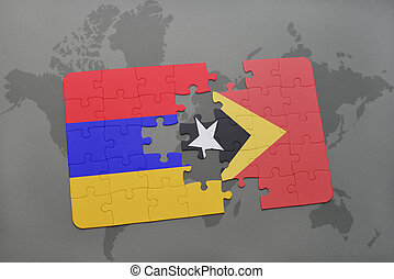puzzle with the national flag of armenia and east timor on a world map