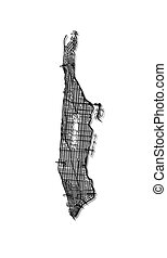 Map of Manhattan streets. - Streets of Manhattan - outline...