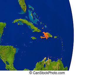 Haiti on Earth - Map of Haiti in red on planet Earth. 3D...