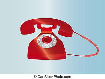 red retro telephone