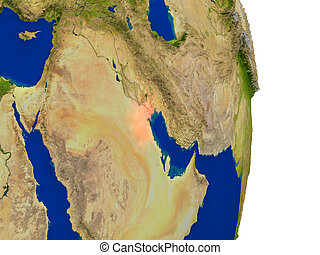 Kuwait on Earth - Map of Kuwait in red on planet Earth. 3D...
