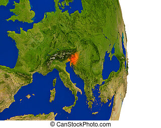 Slovenia on Earth - Map of Slovenia in red on planet Earth....