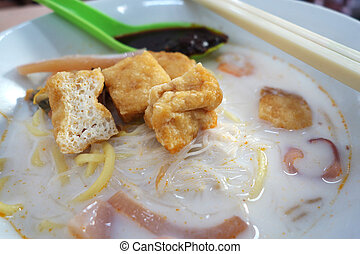 Famous Penang white curry noodle in Malaysia