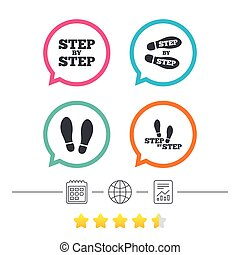 Step icons. Footprint shoes symbols. - Step by step icons....