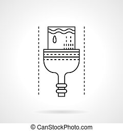 Dyeing brush flat line vector icon - Symbol of brush with...