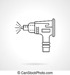 Sandblasting nozzle flat line vector icon - Nozzle for air...