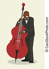 Jazzman, isolated flat object - Jazzman and contrabass,...