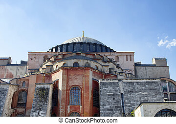 Bottom view of Hagia Sophia (Ayasofya) in historical Sultanahmet area in Istanbul. Museum with glittering mosaics of Biblical scenes in vast, domed former Byzantine church and mosque.